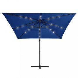 Konzolový slunečník s LED světly 250x250 cm Dekorhome Modrá