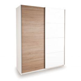 Skříň s posuvnými dveřmi DECOR 150 bílá/dub