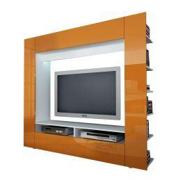 Televizní stěna OLLI bílá/lesklá oranžová