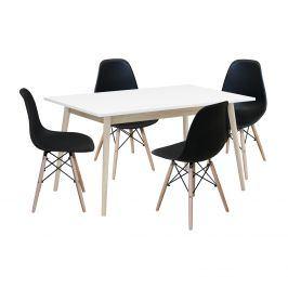 Jídelní stůl NATURE + 4 židle UNO černé