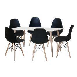 Jídelní stůl GÖTEBORG 50 + 6 židlí UNO černé