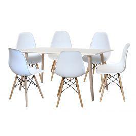 Jídelní stůl GÖTEBORG 50 + 6 židlí UNO bílé