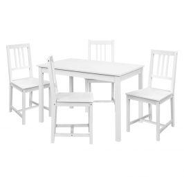 Jídelní stůl 8848B bílý lak + 4 židle 869B bílý lak