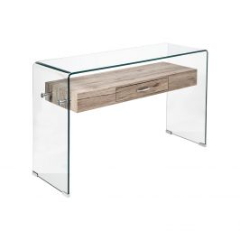 Odkládací stolek 1 zásuvka sklo/MDF