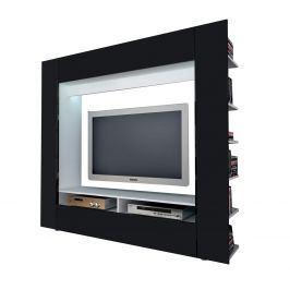 Televizní stěna OLLI bílá/lesklá černá