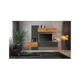 Obývací stěna Charpenterie, dub wotan / hnědá