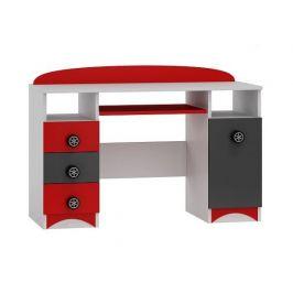 Psací stůl SPEED ABS B7 bílá | grafit | červená