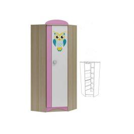 Rohová šatní skříň s grafikou OWL ABS 27