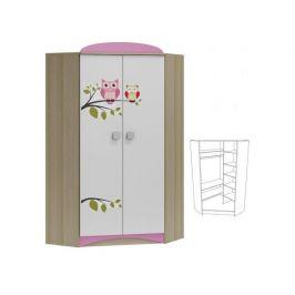 Rohová šatní skříň s grafikou OWL ABS 28
