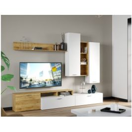 Obývací stěna NEVIO 1, bílá/dub wotan
