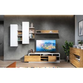 Obývací stěna NEVIO 2, bílá/dub wotan