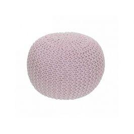 Pletený taburet GOBI TYP 1, pudrová růžová bavlna