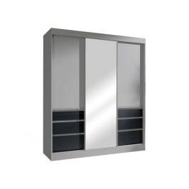 Skříň s posuvnými dveřmi Cartery 180, šedá / černá