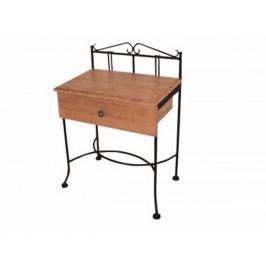 Kovaný noční stolek s masivní zásuvkou SARDEGNA