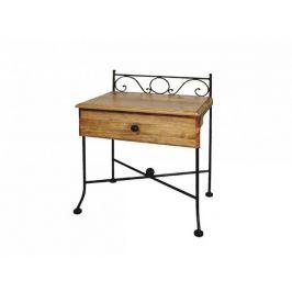 Kovaný noční stolek s masivní zásuvkou ROMANTIC 0420A