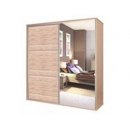 Zrcadlová šatní skříň BOS, dub sonoma