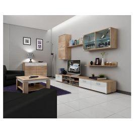 Obývací stěna Magic dub-bílý lesk Obývací stěna