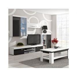 Obývací stěna Mamba bílá-černý lesk Obývací stěna
