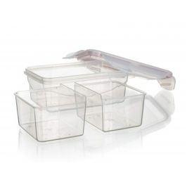 BANQUET Dóza plastová hermetická s přihrádkami LARA 450 ml, růžová