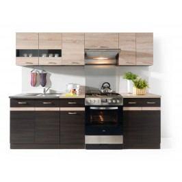 Kuchyně Junona line 240 cm Wenge a Dub Sonoma