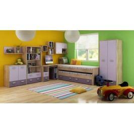 Dětský pokoj Kitty 1 Sonoma světlá + fialová
