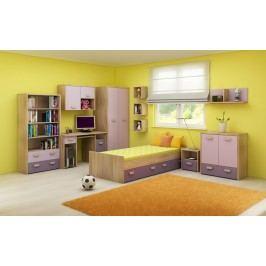 Dětský pokoj Kitty 2 Sonoma světlá + fialová