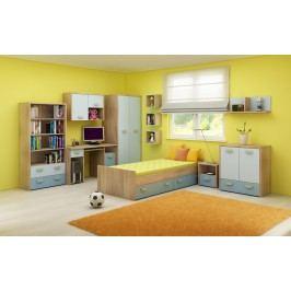 Dětský pokoj Kitty 2 Sonoma světlá + modrá