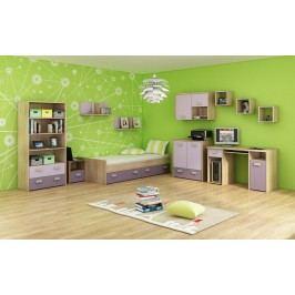Studentský pokoj Kitty 3 Sonoma světlá + fialová