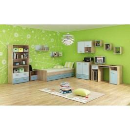 Studentský pokoj Kitty 3 Sonoma světlá + modrá