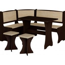 Rohový jídelní set wenge + monaco (s taburetkami) (pro 5 osob)
