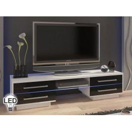 TV stolek/skříňka Laguna (bílá + lesk černý)