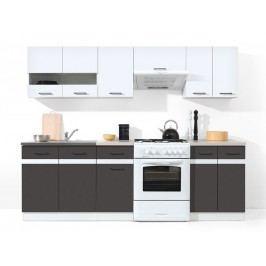 Kuchyně Junona line 240 cm lesk bílý + šedý wolfrám