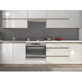 Kuchyně Line 260 cm dub sonoma + lesk extra vysoký bílý