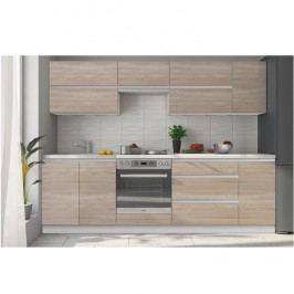 Kuchyně Line 260 cm bílá + dub sonoma