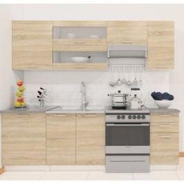Kuchyně Fabiana 240 cm bílá + dub sonoma