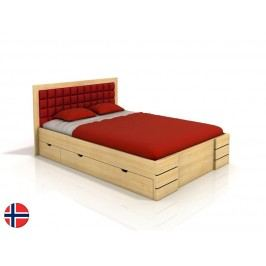 Manželská postel 180 cm Naturlig Storhamar High Drawers (borovice) (s roštem)