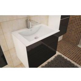 Koupelnová skříňka pod umyvadlo Mason (bílá + černý extra vysoký lesk)