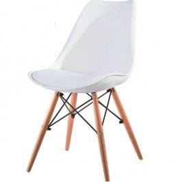 Jídelní židle Kemal (bílá + buk)