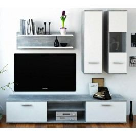 Obývací stěna Waw (beton + bílá)