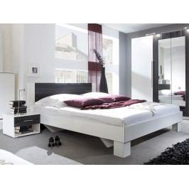Manželská postel 160 cm Typ 51 (bílá + ořech) (s noč. stolky)