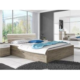 Manželská postel 180 cm Typ 52 (san remo světlý + bílá)