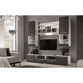 Obývací stěna šedý lesk KN227