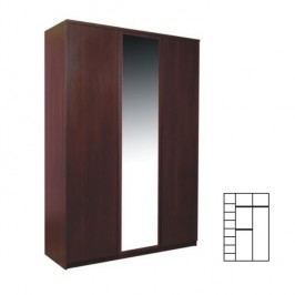 Skříň třídveřová se zrcadlem v moderním dekoru borovice PELLO TYP 22