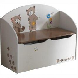 Krabice na hračky, čokoládová/bílá, PUFF 234549