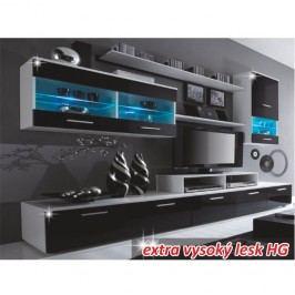 Obývací stěna černá v moderním designu a vysokém lesku LEO s LED osvětlením Obývací stěna