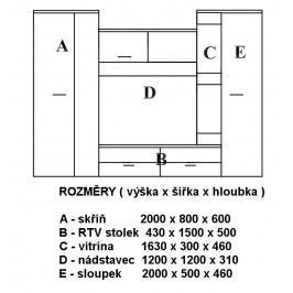 Obývací stěna dub san remo tmavý, bílý lesk KN153