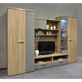 Obývací stěna dub latté/šedý mat KN230