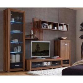 Obývací stěna OGRAL švestka wallis/černá vysoký lesk Obývací stěna