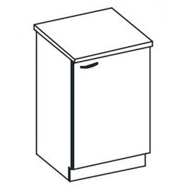 D60 dolní skříňka jednodveřová pravá v šedém lesku KN414