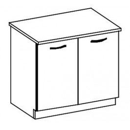 D80 dolní skříňka dvoudveřová v šedém lesku KN414
